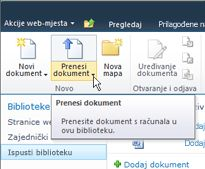 Prijenos dokumenata u biblioteku za predaju