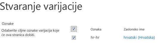 Snimka zaslona s potvrdnim okvirima na kojima su prikazana web-mjesta varijacija koja bi trebala primiti ažuriranja sadržaja. Prikazane su i oznake varijacija i njihovi odgovarajući nazivi za prikaz.