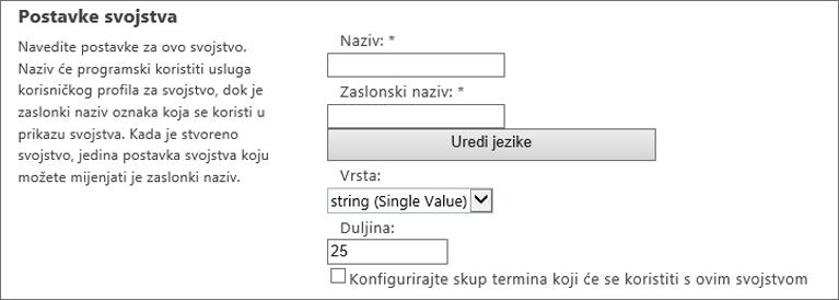 Postavke svojstva u odjeljku korisnički profil u administrator