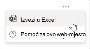 Odabir izvoza u programu Excel iz padajućeg izbornika dodatne mogućnosti u izvješću