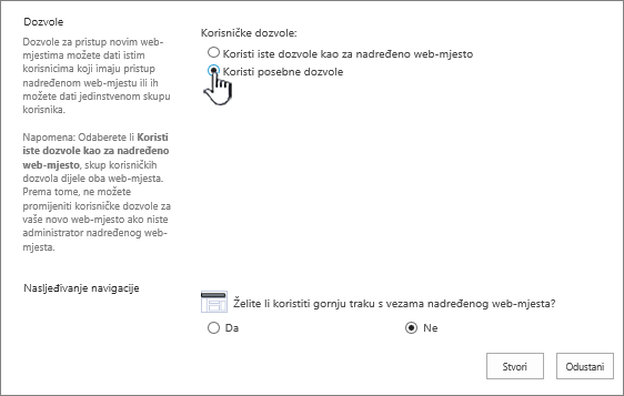 Dodavanje enterprise wiki zaslon s istaknuta jedinstvenih dozvola