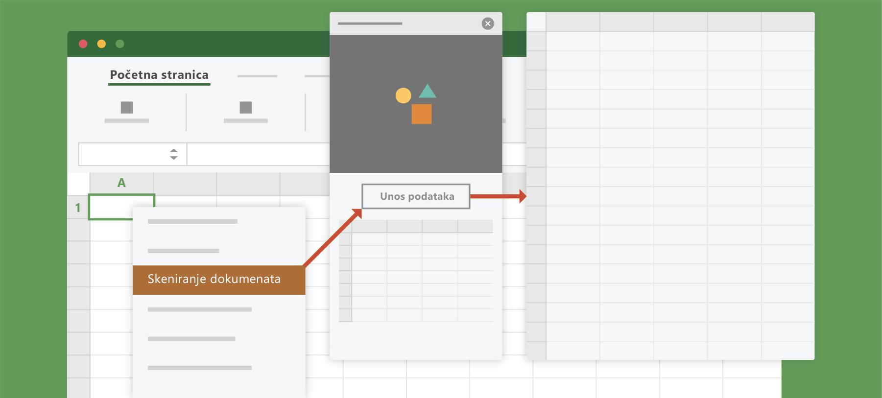 Pokazuje mogućnost skeniranja dokumenta u programu Excel
