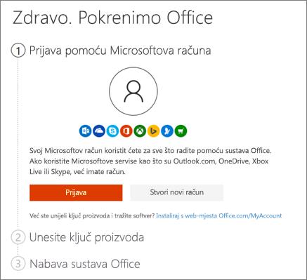 Prikazuje početnu stranicu za setup.office.com
