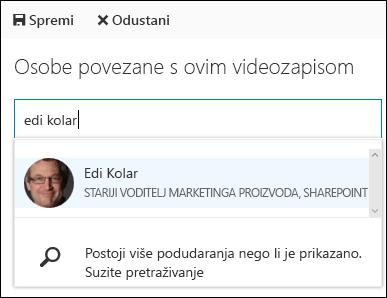 Office 365 video suradnik osobe