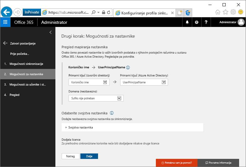 Snimka zaslona nastavnika mogućnosti stranice
