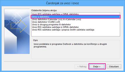Čarobnjak za izvoz u programu Outlook – izvoz u datoteku