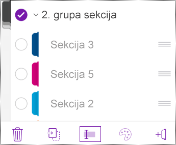 Preimenovanje grupe sekcija u aplikaciji OneNote za iOS