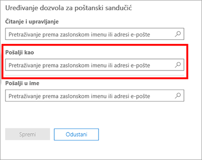 Snimka zaslona: Omogućivanje drugog korisnika za slanje e-pošte u obliku ovog korisnika