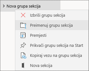 Preimenovanje grupa sekcija u aplikaciji OneNote za Windows 10
