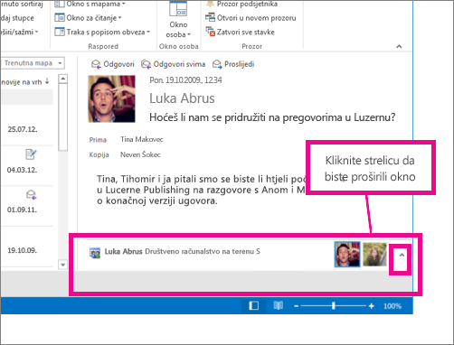 Outlook Social Connector po zadanom je minimiziran