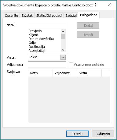 Korištenje kartice Prilagođena svojstva radi dodavanja ili izmjene prilagođenih svojstava dokumenta