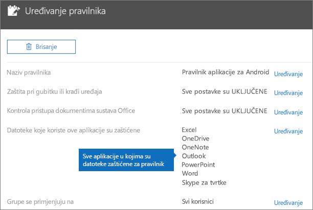 Prikazuje sve aplikacije za koje pravilnik štiti datoteke.