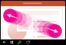 Gesta za povećavanje razine prikaza u programu PowerPoint za Windows Mobile