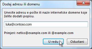 dijaloški okvir dodavanje adrese ili domene