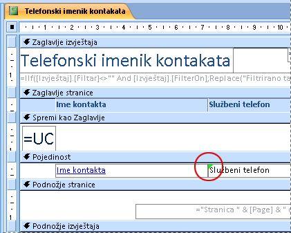 Izvješće koje sadrži tekstni okvir s pogrešno napisanim identifikatorom