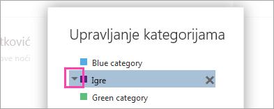 Snimka zaslona strelice pokraj kategorije