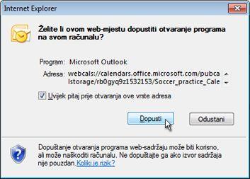 Dijaloški okvir u kojem je potrebno dopustiti web-mjestu da otvara programe