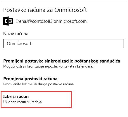 Brisanje računa u aplikaciji za e-poštu