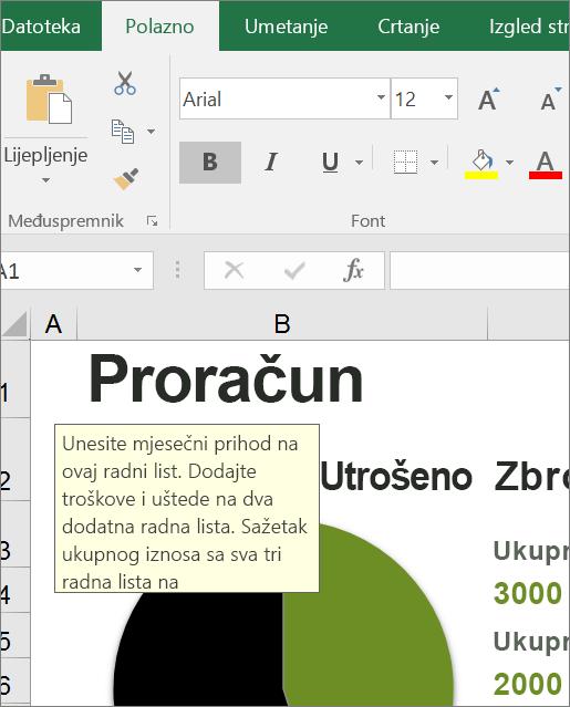Zaslonski isječak korisničkog sučelja programa Excel koja prikazuje ugrađene upute