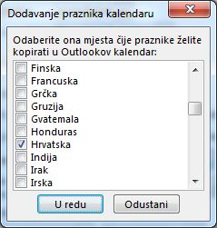 Dijaloški okvir za odabir praznika države/regije