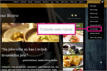 U sastavljaču web-mjesta na servisu GoDaddy odaberite Postavke web-mjesta