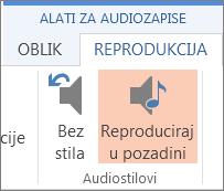 Reprodukcija glazbe u pozadini
