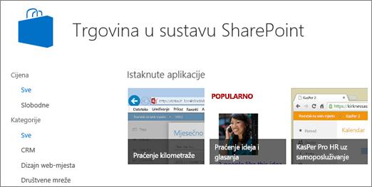 Prikaz odabira aplikaciji trgovina sustava SharePoint