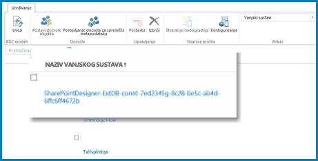 Snimka vrpce u vanjskom prikazu servisa za poslovno povezivanje sustava SPO.