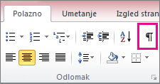 Na kartici Polazno kliknite simbol skrivenih znakova.