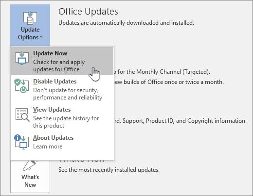 Gumb dohvati ažuriranja za Office Insider Now