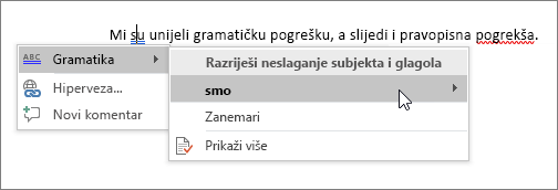 Office 365 pravopis i gramatika, primjer