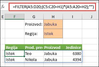 Upotreba funkcije FILTER s operatorom množenja (*) da bi vratila sve vrijednosti iz našeg raspona polja (A5:D20) koje sadrže jabuke I nalaze se su u regiji Istok.