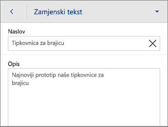 Naredba Zamjenski tekst na kartici Slika