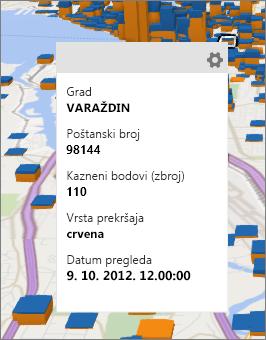 Podatkovna kartica s prikazanim detaljima o podatkovnoj točki