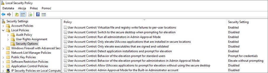 Lokalni sigurnosna pravila prozor s prikazanim sigurnosne mogućnosti ispraviti postavke servisa OneDrive