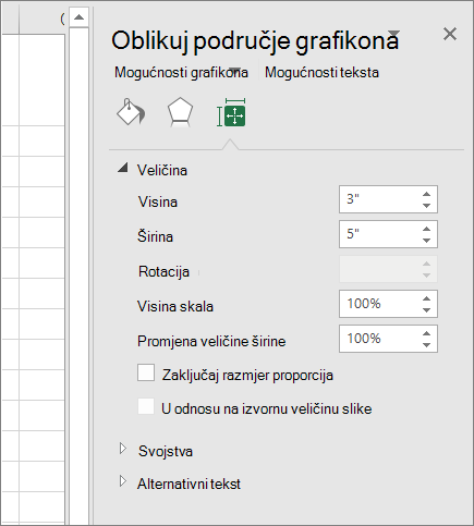 Možete prilagoditi veličinu grafikona u dijaloškom okviru Oblikovanje područja grafikona