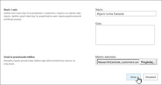 Novi dijaloški okvir aplikacije, uz naziv i datoteke mjesto ispunite, Uvoz istaknuta