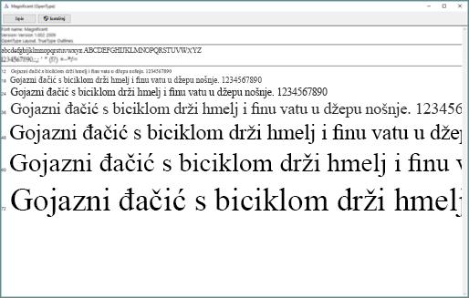 Preglednik fontova u sustavu Windows omogućuje vam instaliranje fontova na računalu sa sustavom Windows