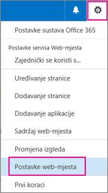 U gornjem desnom kutu odaberite gumb Postavke, a zatim Postavke web-mjesta.