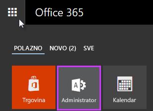 Prikazuje pokretač aplikacija sustava Office 365 s istaknutom stavkom Administrator.