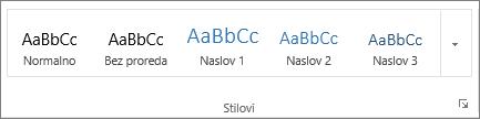 Snimka zaslona grupe Stilovi na kartici Polazno, u kojoj se prikazuju stilovi kao što su Naslov 1, Naslov 2 i Naslov 3.