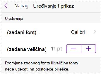Promjena vrste fonta i mogućnosti veličine u postavkama na iPhoneu.