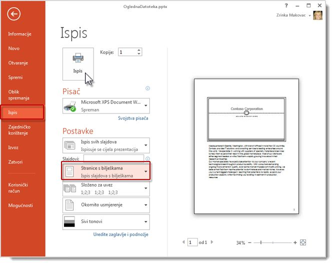 Ispis stranica s bilješkama