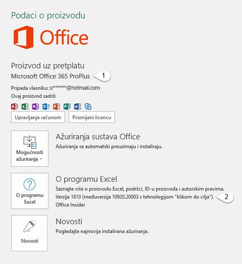 Stranica računa koji uključuje podatke o korisniku i proizvodu
