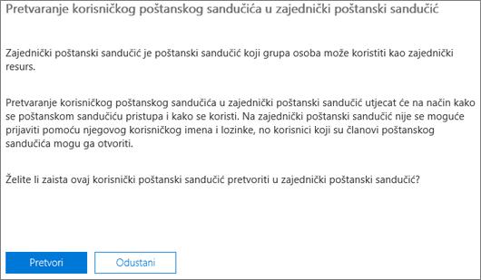 Snimka zaslona: Kliknite ili dodirnite Pretvori da biste pretvorili korisnički poštanski sandučić zajedničkog poštanskog sandučića