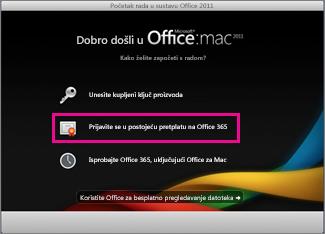 Stranica za instalaciju sustava Office za Mac Home na kojoj se prijavljujete u postojeću pretplatu na Office 365.