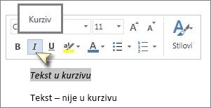 Odaberite tekst, a zatim kliknite Kurziv.