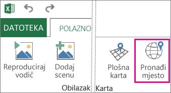 Gumb Pronađi lokaciju na kartici Polazno u dodatku Power Map