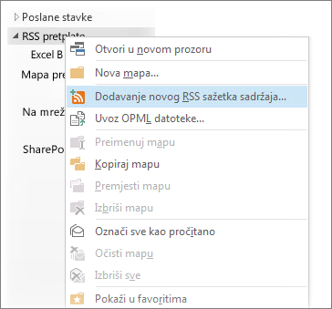 Dodavanje RSS sažetka sadržaja