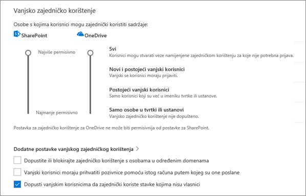 Vanjsko zajedničko korištenje postavke na stranici zajedničko korištenje centra za administratore servisa OneDrive
